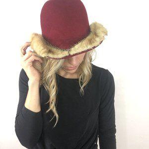 Vintage Wool Hat with Genuine Fur Chain Trim Red